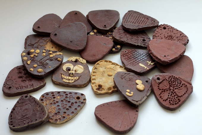 Handmade ceramic tiles, by elementary school students