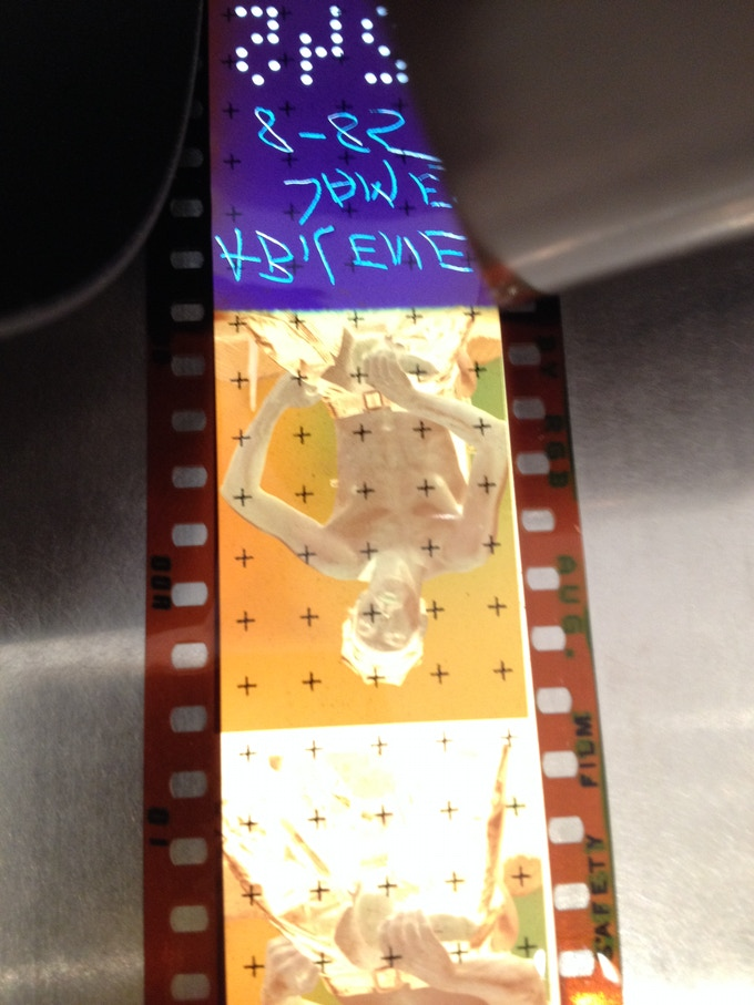 A frame of Mizer's 35mm negative during the archival process.