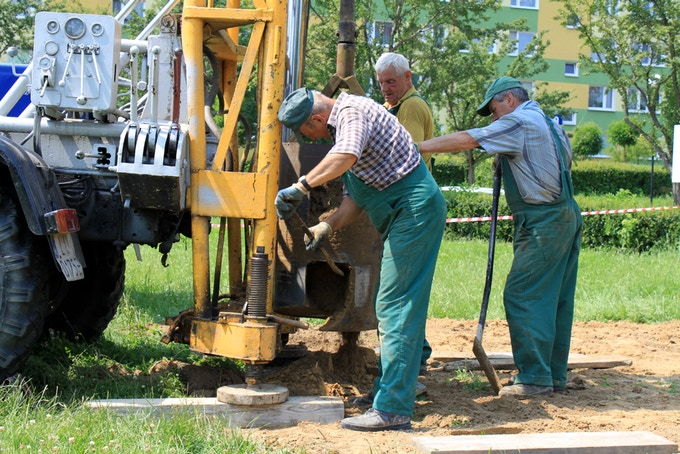 Local contractors installing the site foundation