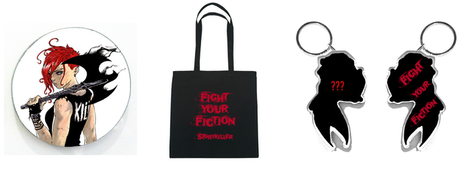 """Rough mock-ups of Swag: Tessa Battle Magnet, Fight Your Fiction Tote (15""""x15""""), and the shaped double-sided acrylic key chain (front TBD with Fight Your Fiction back))"""