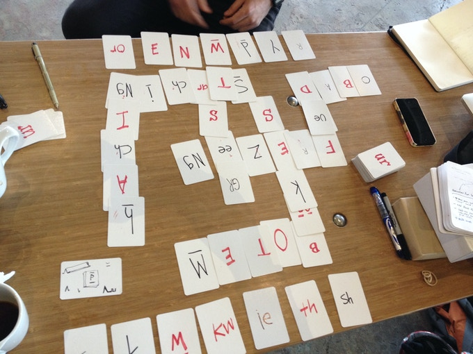 Prototype, August 2013 - this version had a more complex phoneme system that included more blends, digraphs, and differentiated long and short vowels.