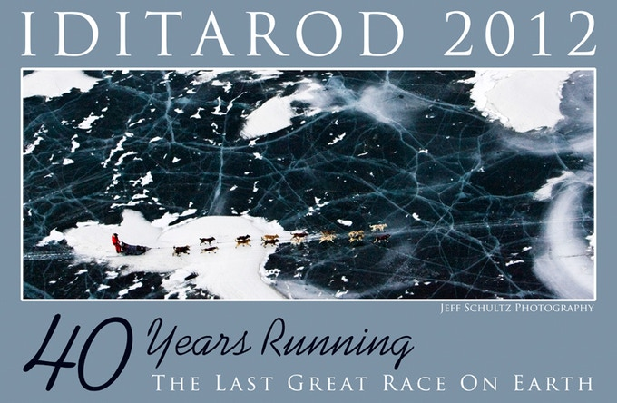 """This is the 15""""x 25"""" Iditarod 40th Running Limited-Edition Poster –2012 reward.  This is Jason Barron & team on Farewell Lake during the 2008 race. It is printed on extra-heavy paper stock,individually signed and numbered in an edition of 1,049"""