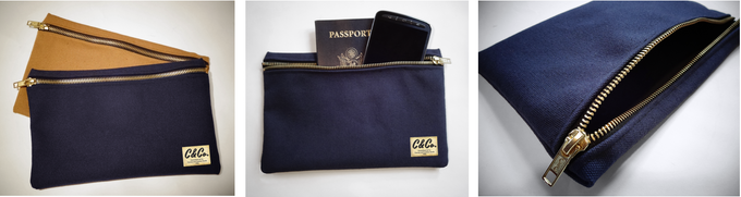 """(2) TWO 15 oz. Utility Pouches: Heavy cotton duck canvas utility pouches with brass zippers.  Colors: Spice and Navy Blue. Dimensions: 9"""" W x 5.3/4"""" H.  -  MADE IN USA"""