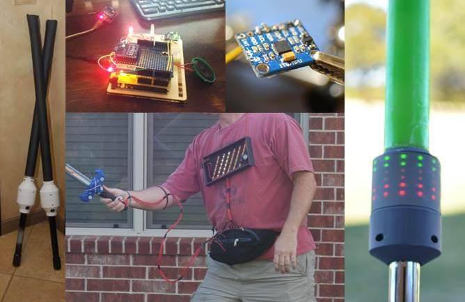 proto1 (left), Arduino, accelerometer, & proto2 (middle), proto3 (right)