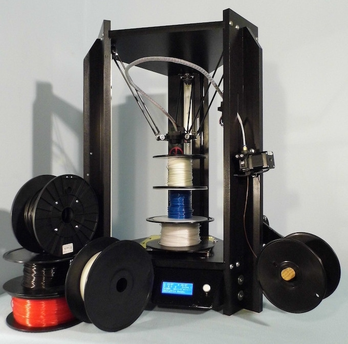 The DeltaTrix 3D printer is able to use a large number of different 1 kg filament spool sizes, from different sources. No need for altering bosses or things like that. Complete freedom in filament choice, provided the quality is ok!