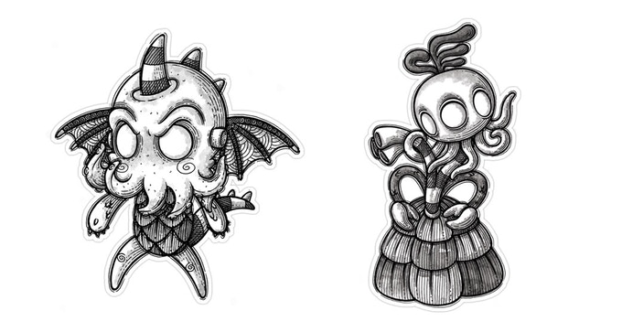 Cthulhu & Yith stickers