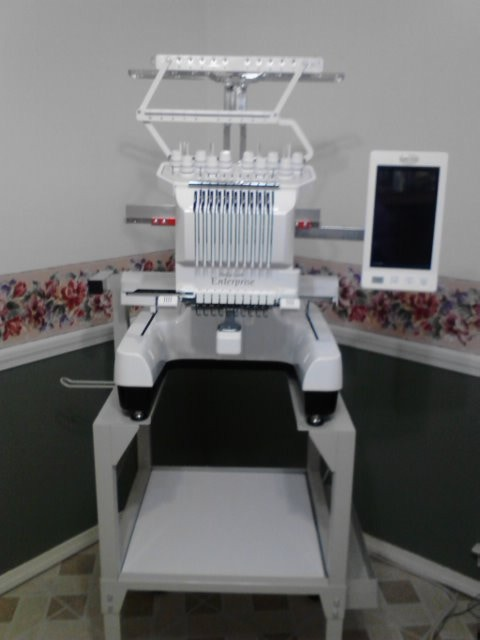 We have recently acquired this state-of-the-art, computerized and fully digitized Babylock 10 Needle Embroidery Machine ($14,000) to increase our personalization and monogramming services - January 2014