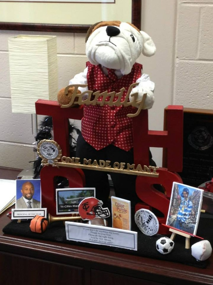 I couldn't resist crafting this display piece in honor of a local high school principal -- who happens to also be a former marching band drum major at this high school...GO Bulldogs! - May 2013