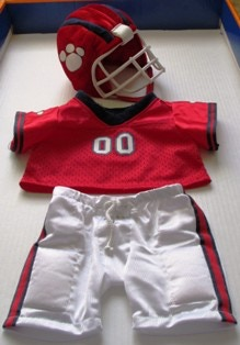 "Football costume crafted for a 16"" Bulldog - May 2013"