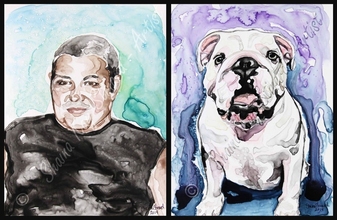 'Strong' - 9 x 12 memorial portrait. Another beloved pet,  'Miss Lucy' - 9 x 12