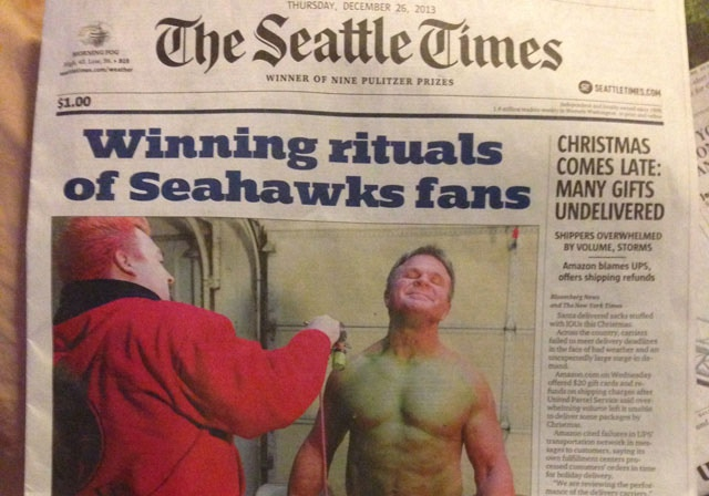 On the front page of the Seattle Times