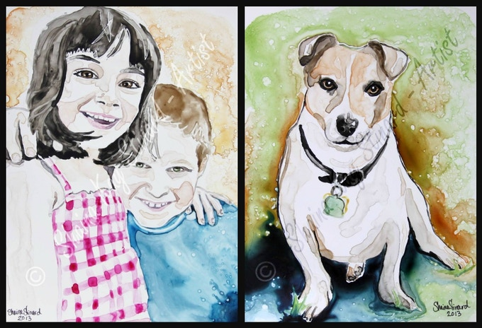 'Crazy Kiddos' - 9 x 12 watercolor on YUPO.   'Elvis'- a memorial portrait, 8 x 10 watercolor on YUPO