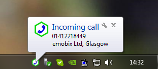 Windows 7 PC desktop notification display
