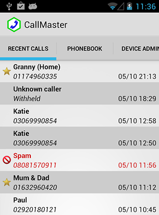 Android phone display of recent callers - note the blocked call!