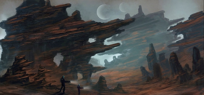 Exploration at night (Concept Art by Wilbert Sweet)