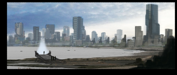 City by water (Concept Art by Wilbert Sweet)