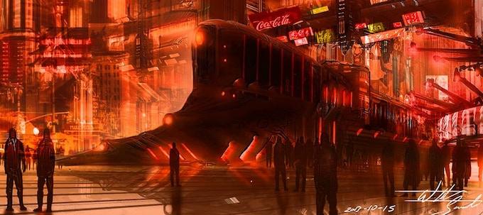 A busy metropolis - (Concept Art by Wilbert Sweet)