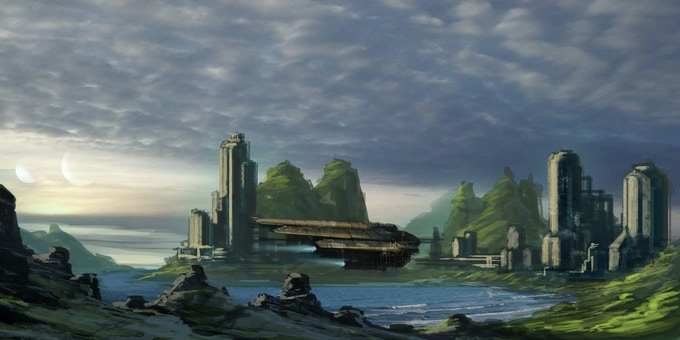 Lake Fly Over (Concept Art by Wilbert Sweet)