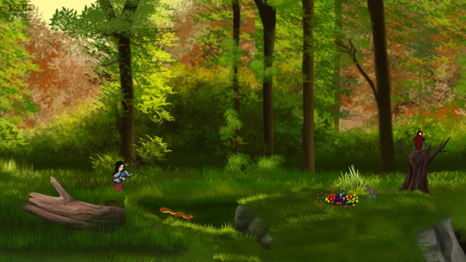A beautiful forest along Oscar's journey. Click below for a light tune composed for the game.