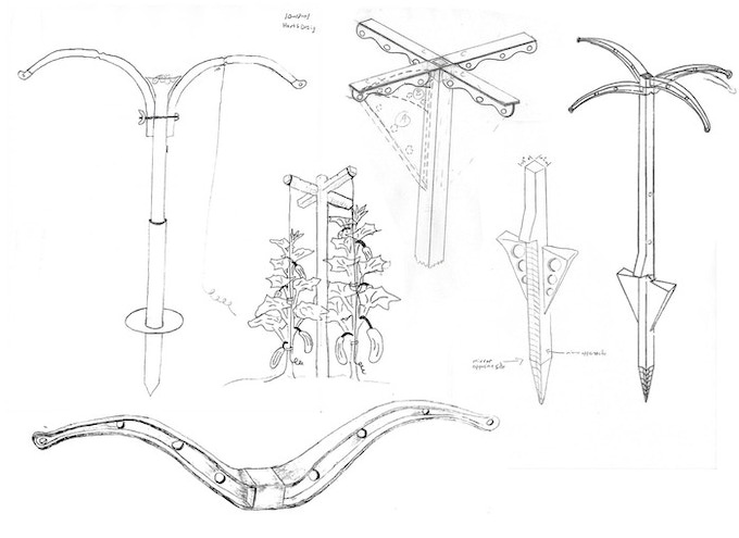 These drawings are the very first sketches of the Miracle Stake design.  We contemplated with hundreds of names, but the Miracle Stake stuck.