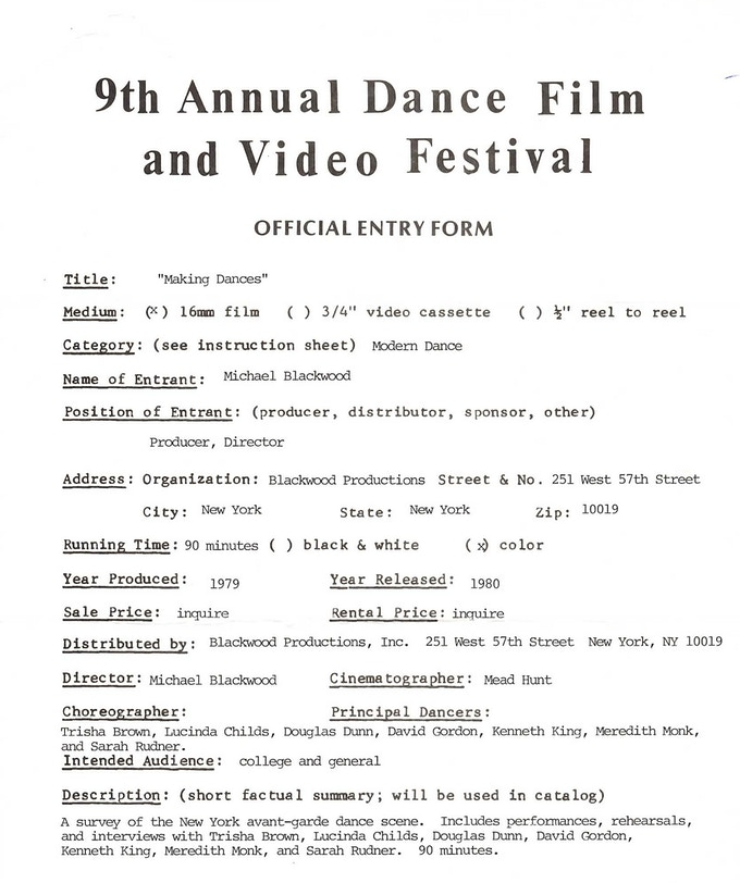 Entry form to Dance on Camera from 1980 featuring modern dance greats Trisha Brown, Lucinda Childs, Douglas Dunn, David Gordon, Kenneth King, Meredith Monk, and Sarah Rudner.