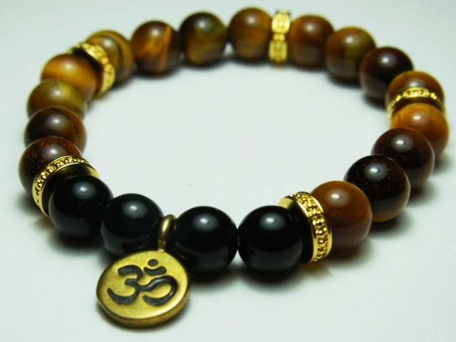 8mm Tigereye (Natural) Bracelet with piece upcycled from bullets and bombshells in Cambodia //size adjustable