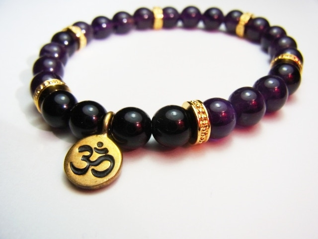 8mm Amethyst (Natural) Bracelet with piece upcycled from bullets and bombshells in Cambodia //size adjustable