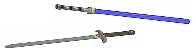 Lightsaber and Medieval Version Sabertron Drawings