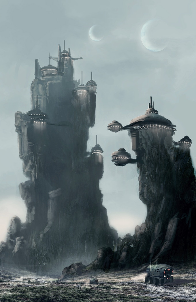 Cliff-side Cityscape (Concept Art by Wilbert Sweet)