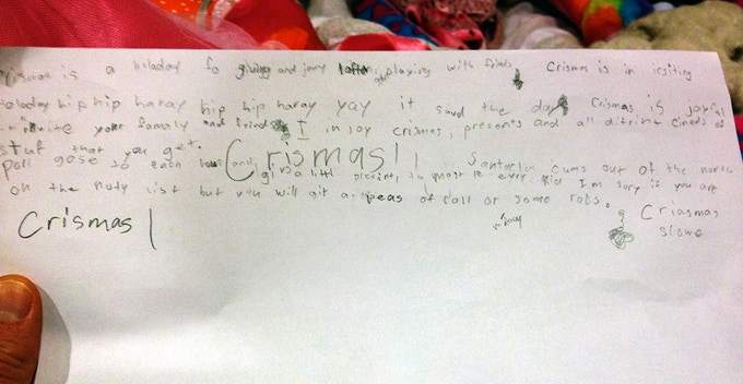"""""""Crismas is in icsiting Holoday hip hip haray YAY"""" -- these lyrics were composed and written unprompted by my 7-year old niece (Dec 2013). The words came to her as a complete performance with melody & dramatic actions - language is physical!"""