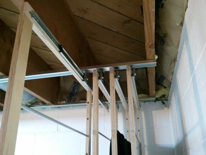 Ceiling mount hardware - Hook bracket parallel to the ceiling bracket.  Flexible to be mounted to any joist arrangement.