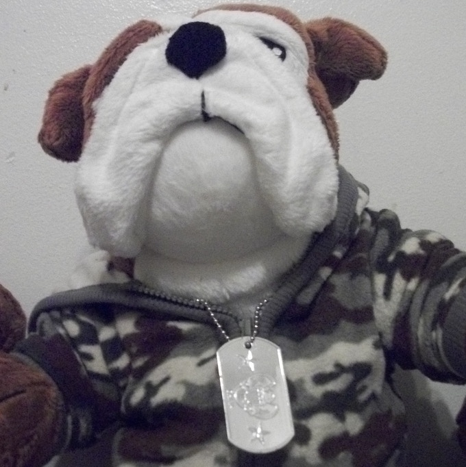 Our original Bulldog Recruit was dressed in fatigue patterned infant wear with dog tags. Now we create the costumes in-house.