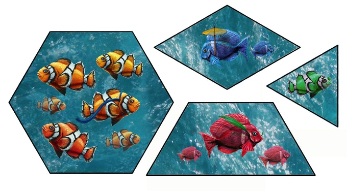 Fish Tiles.  The tiles and tokens are 2mm thick, which is the same thickness as Carcassonne tiles.