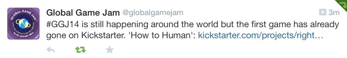 The tweet from the official Global Game Jam account after we launched this campaign