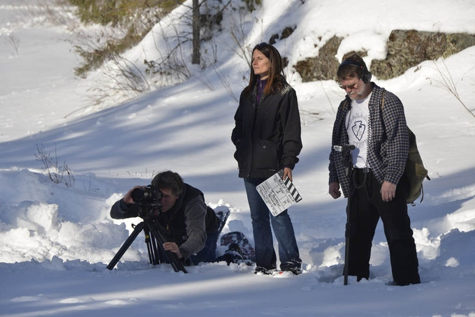 Director of Photogaphy Lawrence Schweich with Director Julia Huffman and Chris Hunter, Sound.