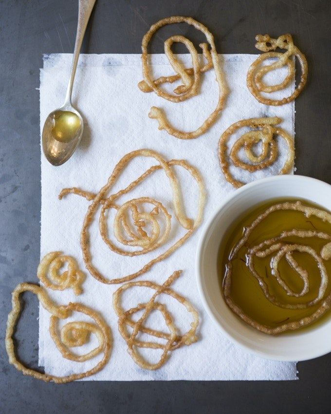 """Afghan """"Jalebi""""--lemon saffron cookies--by Between Meals chef, Arezo. (Photograph by Victoria Wall Harris)"""