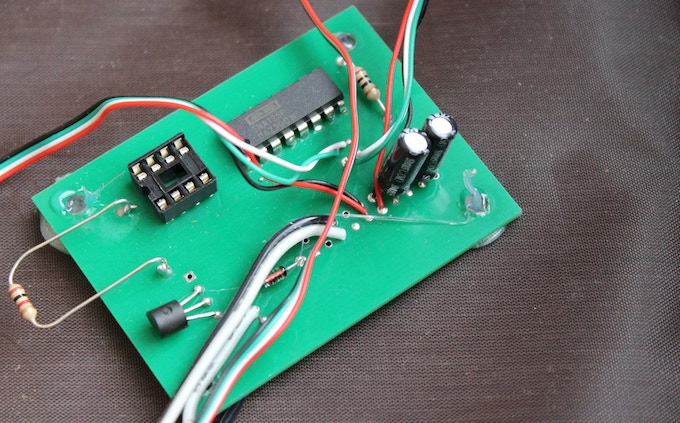 This is what the circuit board looks like completely installed on one of the prototype Tidy Dogs.