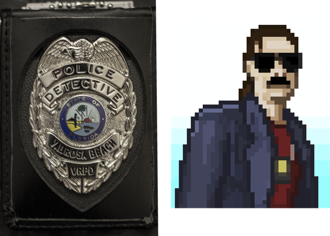VRPD Detective Badge and small pixel-art portrait.