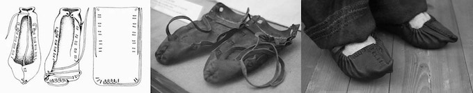 Assembling the Hungarian Bocskor leather shoes