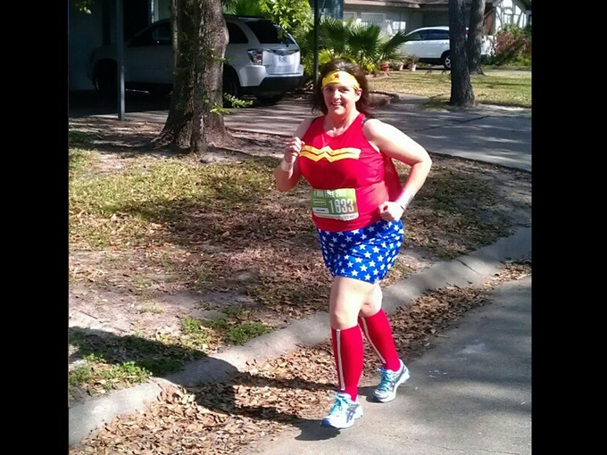 It takes a real superhero to run a fake marathon!