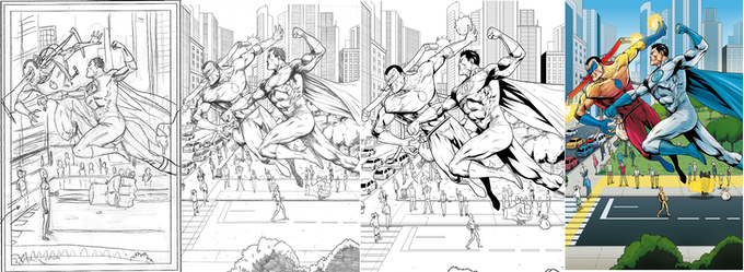 Behind the Scenes: See the progression from Rough Pencils to Colored Page