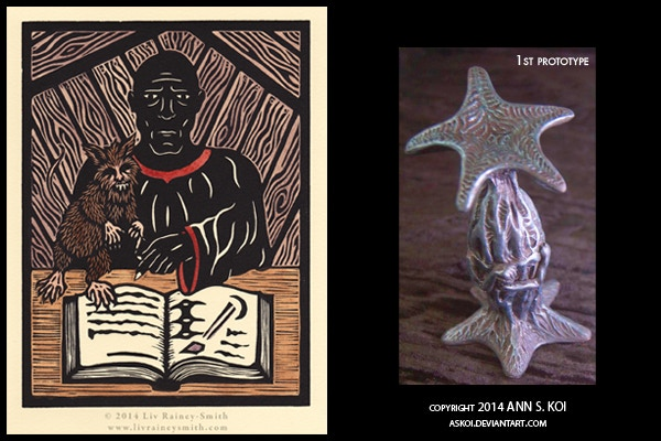 """""""Sign!"""" is a limited edition hand-colored woodcut by Liv Rainey-Smith featuring Nyarlathotep and Brown Jenkin, and hand-painted Elder Thing """"Balustrade"""" figurine by Ann S. Koi."""
