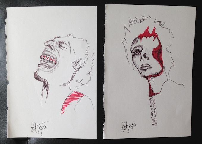 Freddy Mercury and David Bowie original drawings