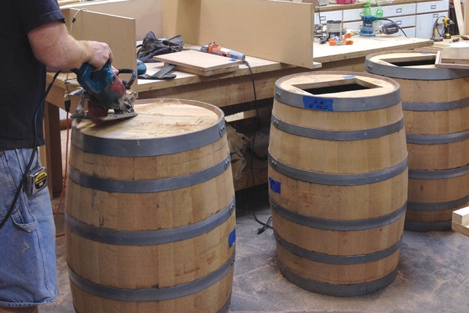 Our whiskey barrels getting ready for their the sriracha mash. (September, 2013)
