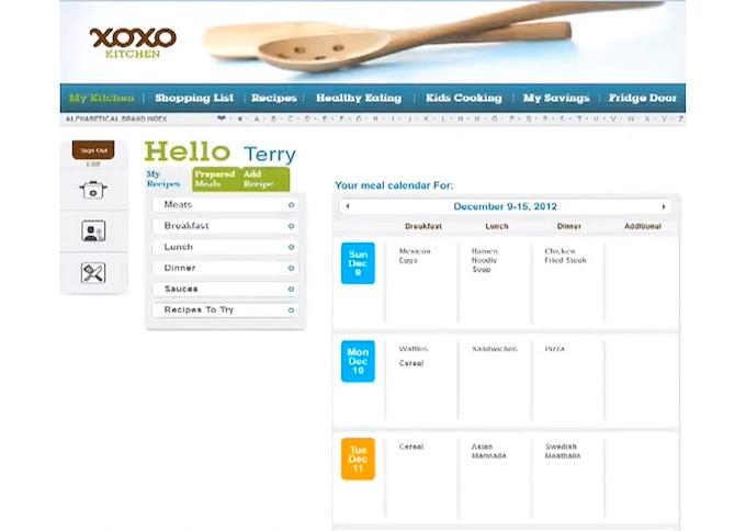 An example of a user's meal calendar.