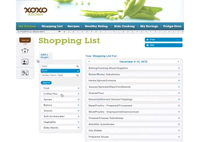 An example of a user's shopping list.