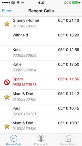 iOS display of recent calls