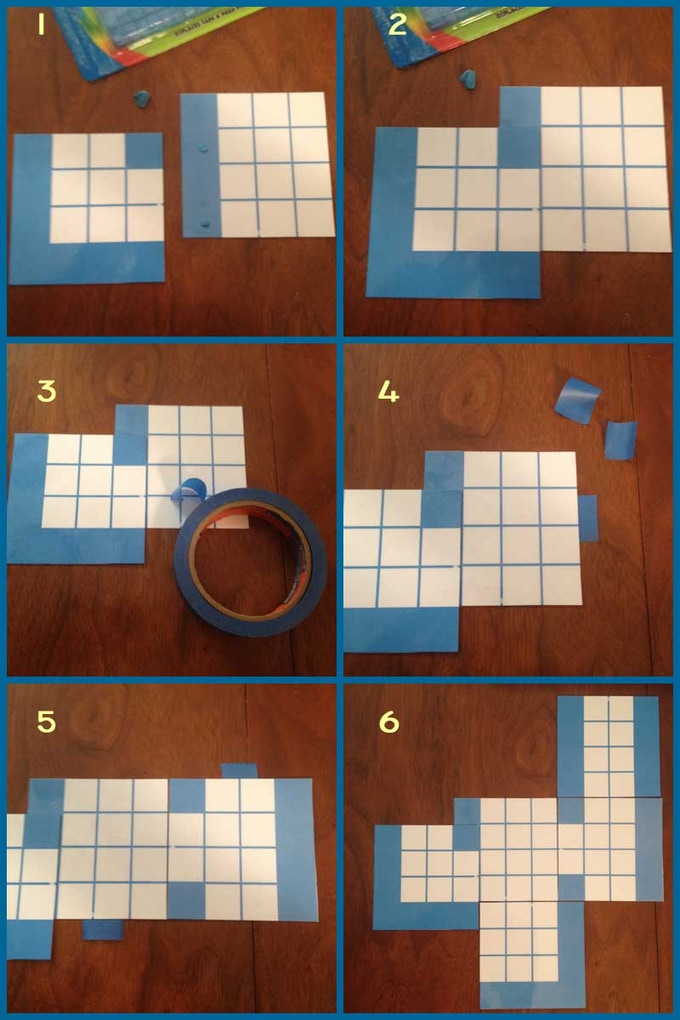Attaching tiles with sticky tack and tape