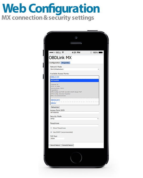 OBDLink MX WiFi has a built-in web interface for editing connection settings from your phone, tablet, or PC.