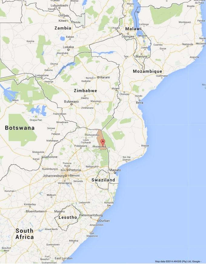 Location of Kruger National Park.  Source: Google Maps